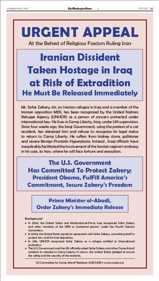 In Newspaper Ad USCCAR Urges U.S. to Act for Immediate Release of Iranian dissident taken hostage in Iraq